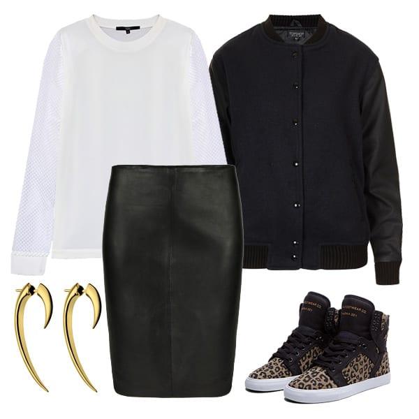 Sports Luxe Outfit AllSaints Lucille Leather Skirt Shaun Leane Medium Hook Earring Supra Black & Cheetah Print Skytop TIBI Alexa Mesh Sleeve Sweatshirt Topshop Premium Varsity Bomber Jacket