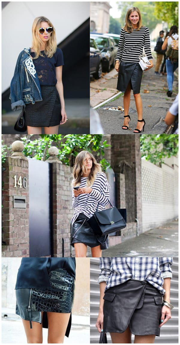 Streetstyle Styling Inspiration - Black Leather Wrap Skirt