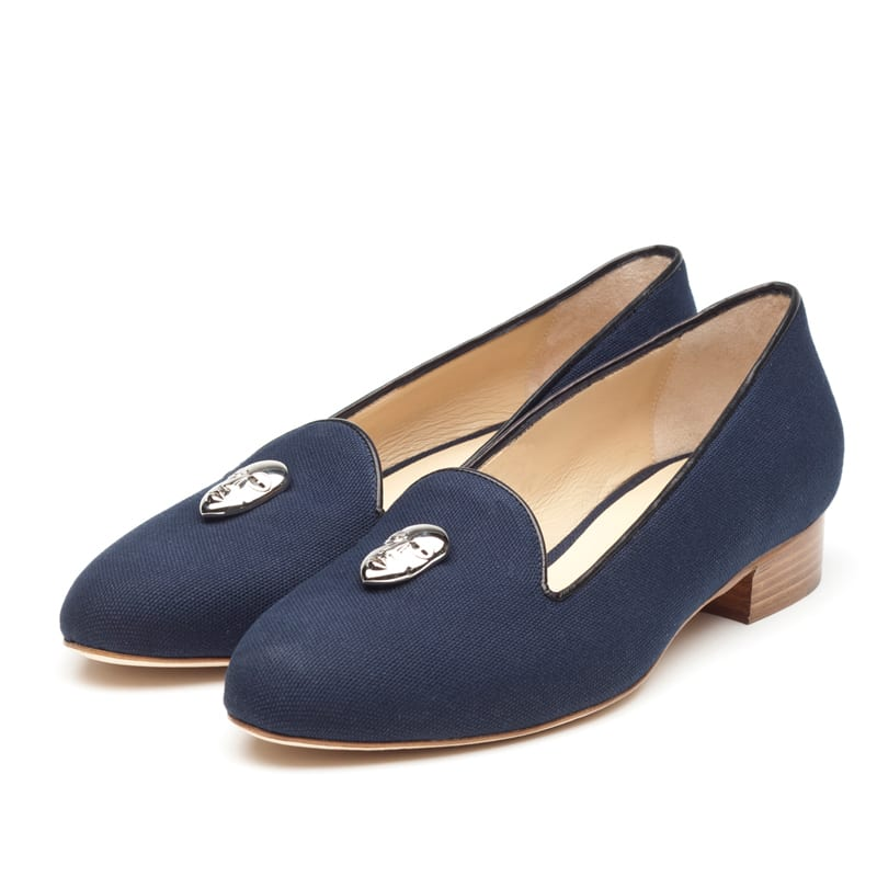 Colette Navy Canvas Slipper