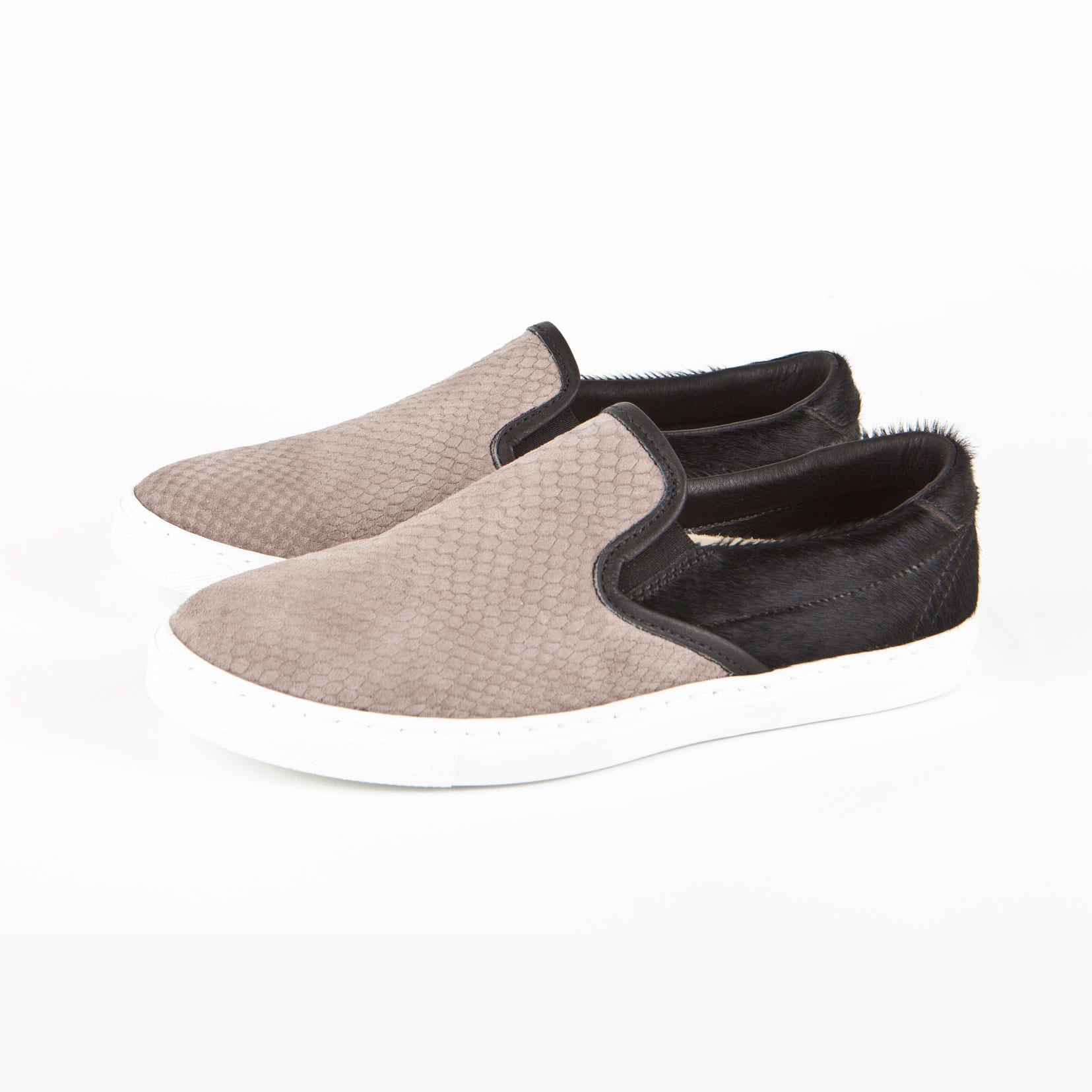 Diemme | Garde Slip-On Trainer | Taupe snake embossed suede, black haircalf leather & white rubber sole