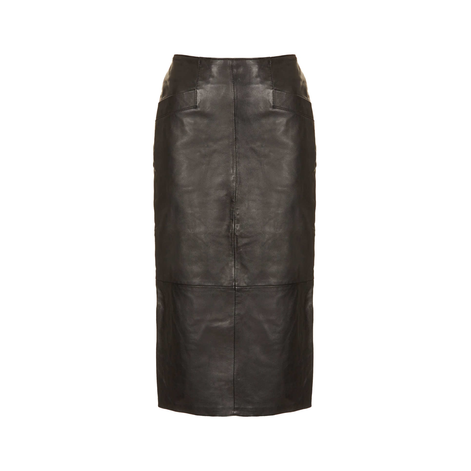 topshop black leather calf length pencil skirt style