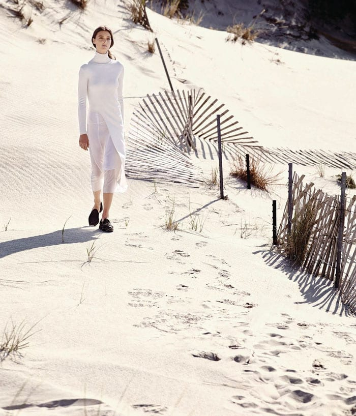 StyleAndMinimalism   WSJ Magazine   Balenciaga sweater, Theyskens' Theory skirt and Proenza Schouler flats