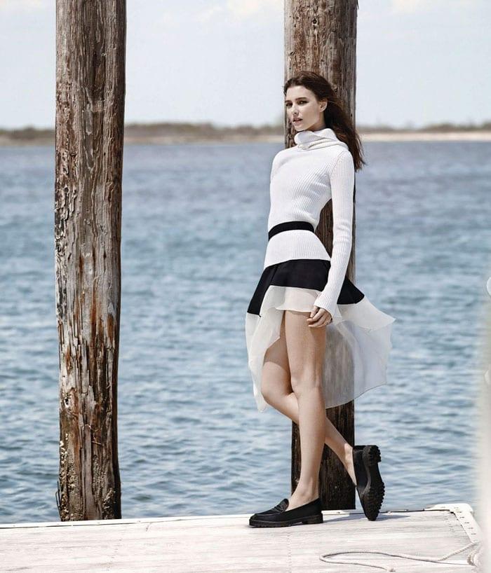 StyleAndMinimalism | WSJ Magazine | Hermès sweater, Theory dress, Theory belt and Proenza Schouler flats