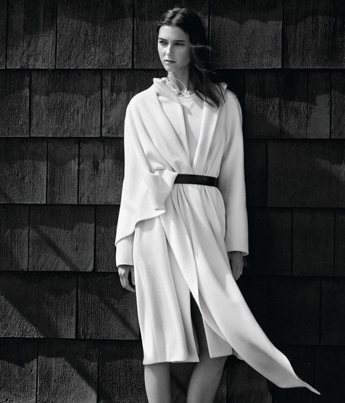 StyleAndMinimalism | WSJ Magazine | Ralph Lauren Collection coat and sweater, Theory belt, Altuzarra necklace, Repossi ring and Proenza Schouler flats