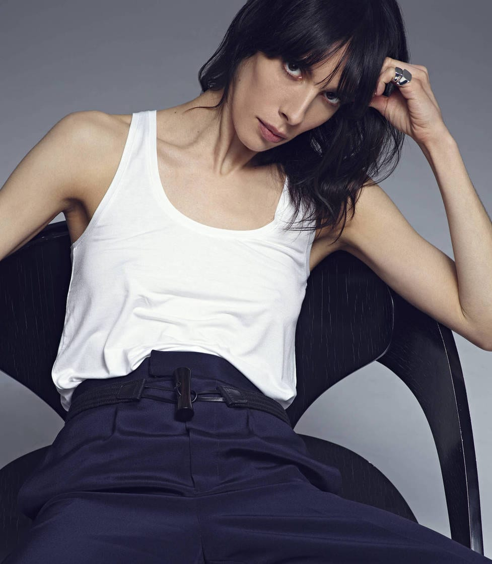 StyleANDMinimalism | Editorial | The Line | Vanessa Traina | Vince Drape Hem Tank - White, Protagonist Trouser 04 Wide Leg Trouser - Navy, Christophe Lemaire Braided Belt - Black