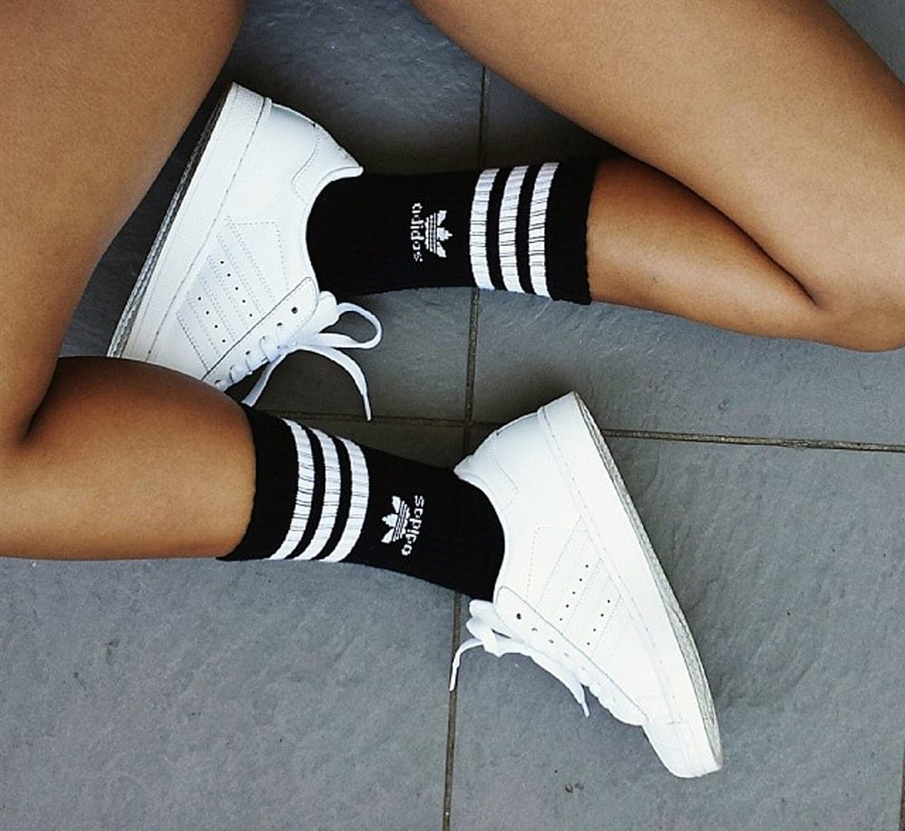 StyleANDMinimalism | Trend | Sports Luxe | Adidas Sports Socks & White Trainers