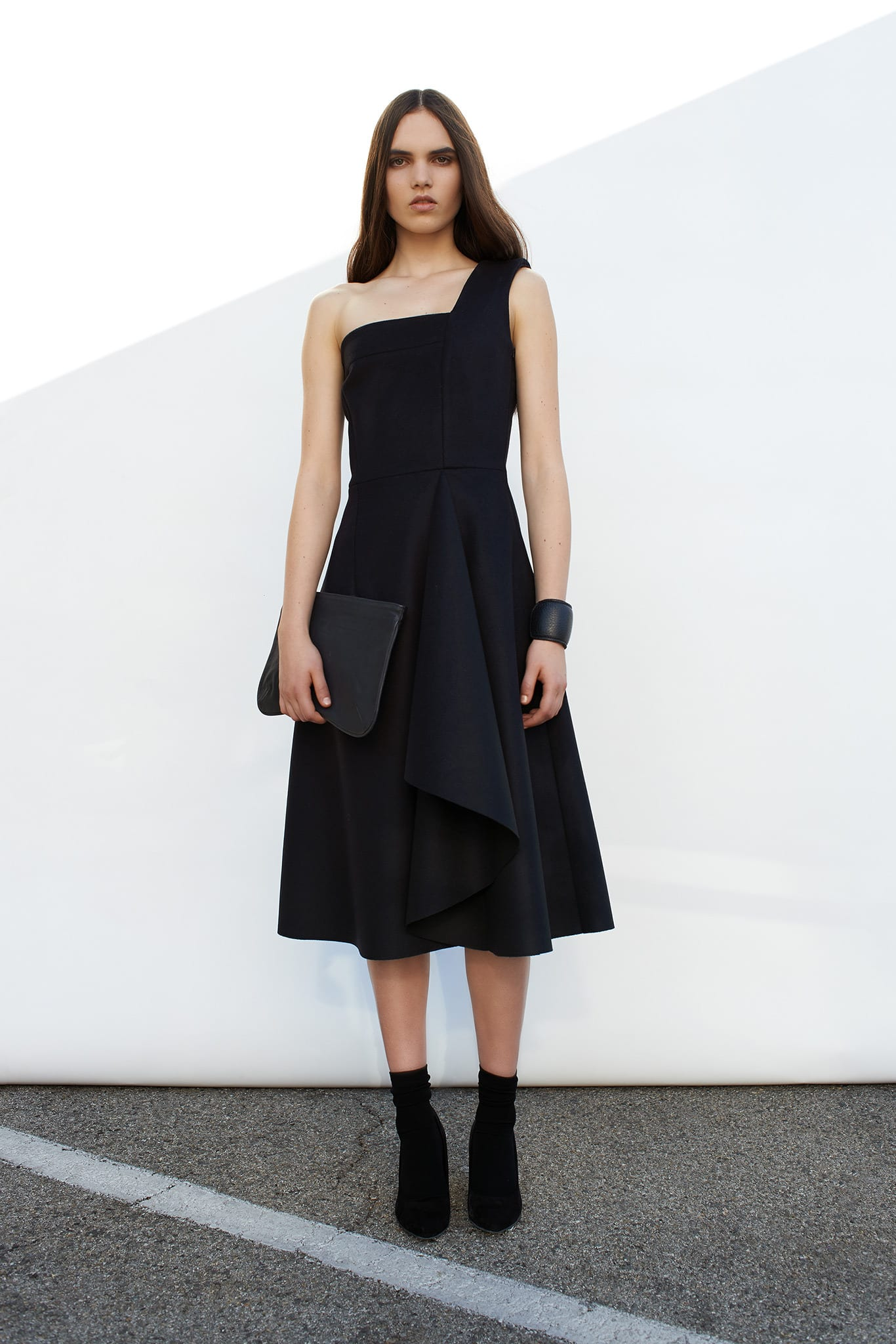 StyleAndMinimalism | Collection Best Bits | Cerre AW14 | One shoulder black midi dress