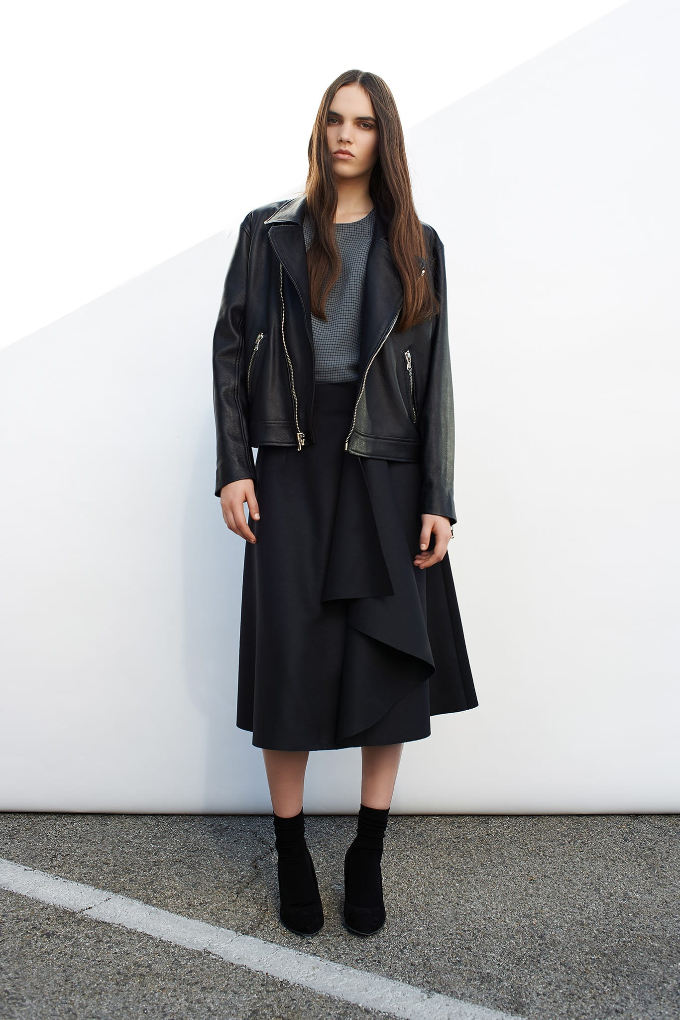 StyleAndMinimalism | Collection Best Bits | Cerre AW14 | Black leather biker jacket, midi skirt & top