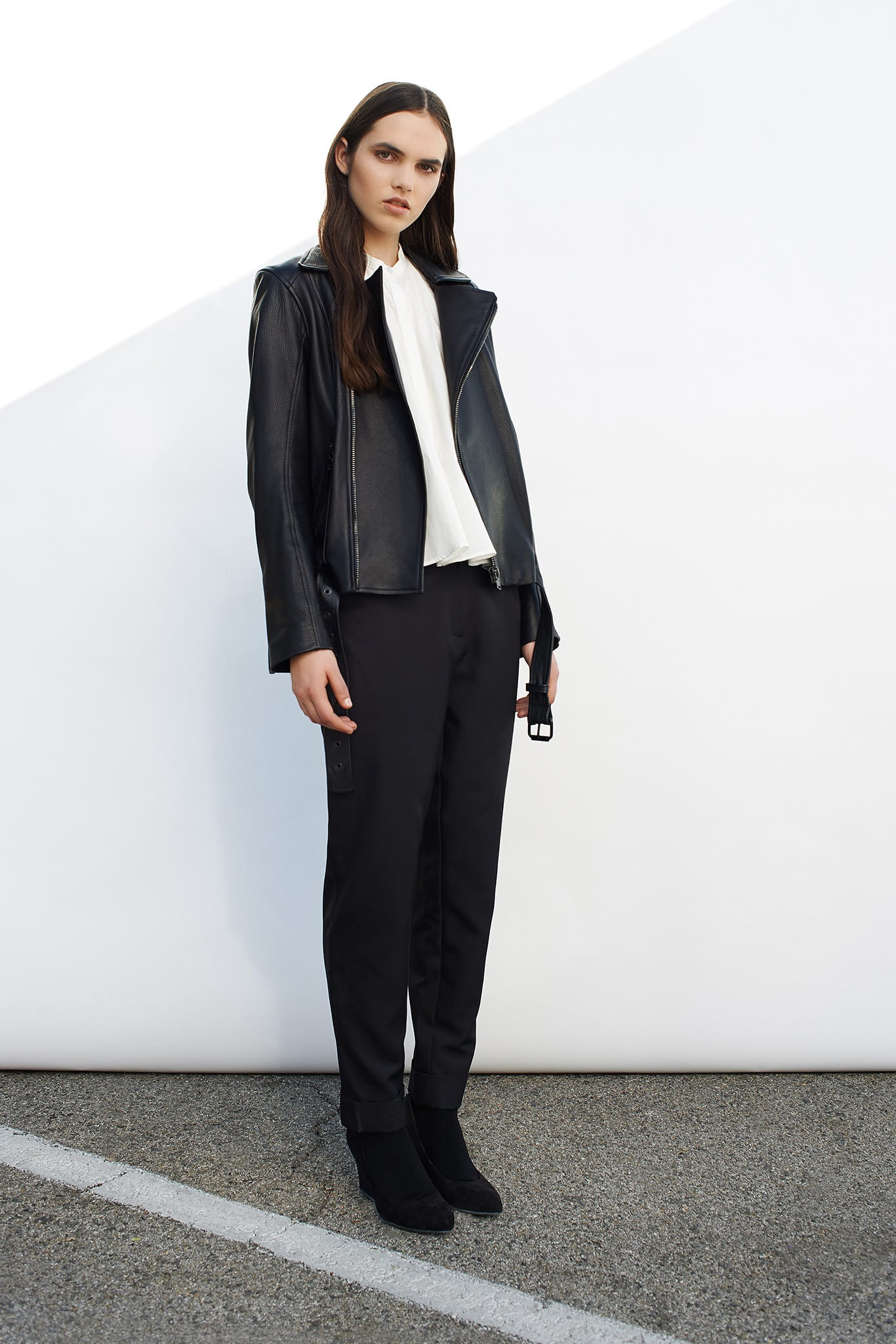 StyleAndMinimalism | Collection Best Bits | Cerre AW14 | Black leather biker jacket, white shirt & black tailored trousers