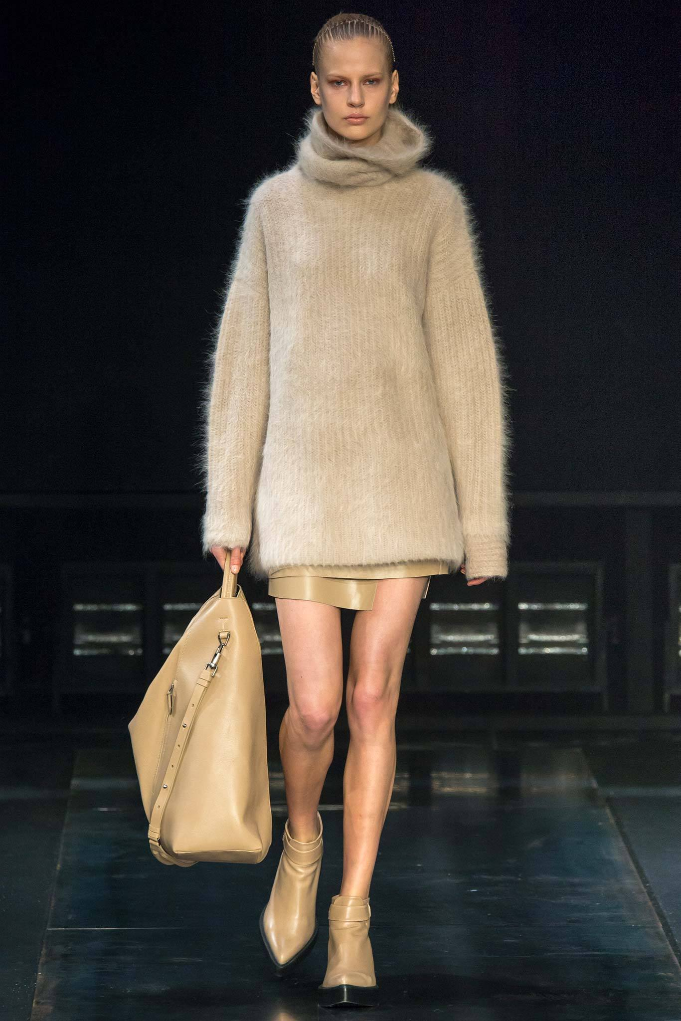 StyleAndMinimalism | Collection Best Bits | What To Wear From AW14 | Helmut Lang AW14 | Beige Oversize Mohair Roll Neck Jumper, Short Wrap Beige Caramel Leather Skirt
