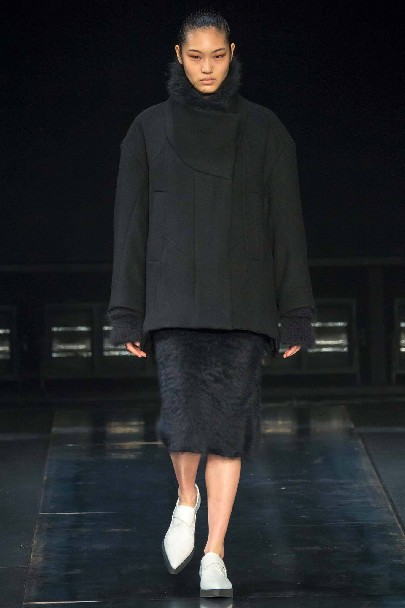 StyleAndMinimalism | Collection Best Bits | What To Wear From AW14 | Helmut Lang AW14 | Black Funnel Neck Oversized Coat, Black Mohair Pencil Skirt