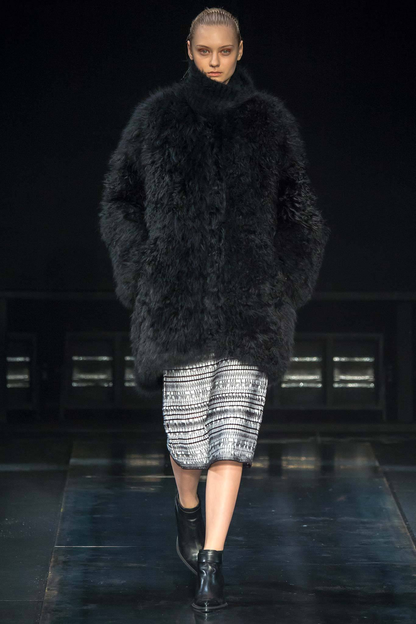 StyleAndMinimalism | Collection Best Bits | What To Wear From AW14 | Helmut Lang AW14 | Oversized Black Fluffy Coat, Textured Patterned Pencil Skirt