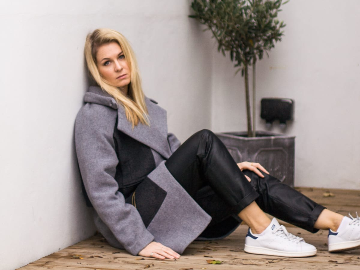 StyleANDMinimalism | It's Personal | Three Floor Alaska Grey & Black Coat, Topshop Chambray Shirt, H&M Studio Black Leather Trousers, Adidas Stan Smith White Trainers, COS Black Leather Clutch, Pearl Earring