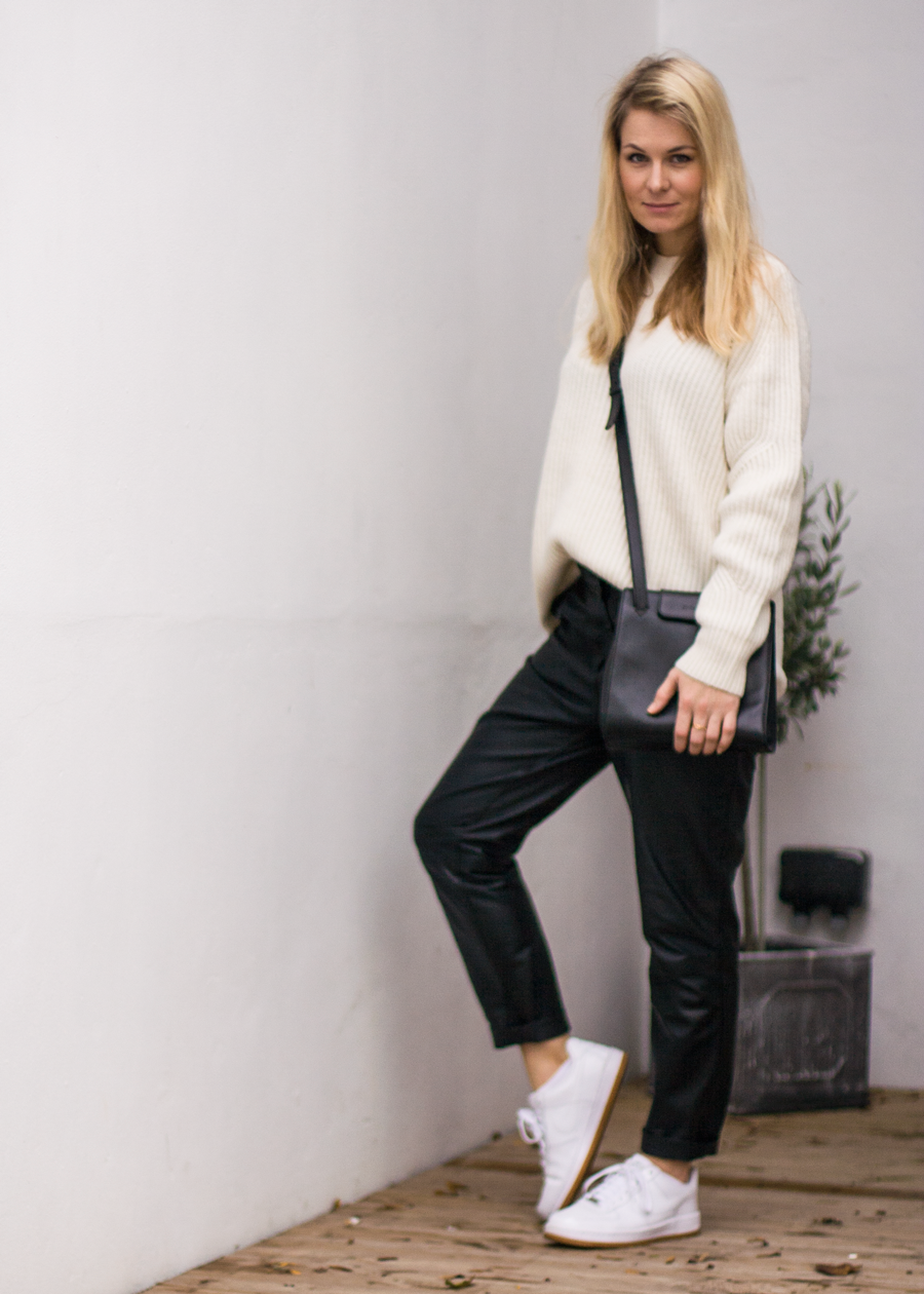 StyleANDMinimalism | It's Personal | AllSaints Quinta Jumper in Ecru, H&M Studio Black Leather Trousers, Nike Air Force 1 White Leather Trainers, Vintage Jil Sander Black Crossbody Bag & Pearl Earring