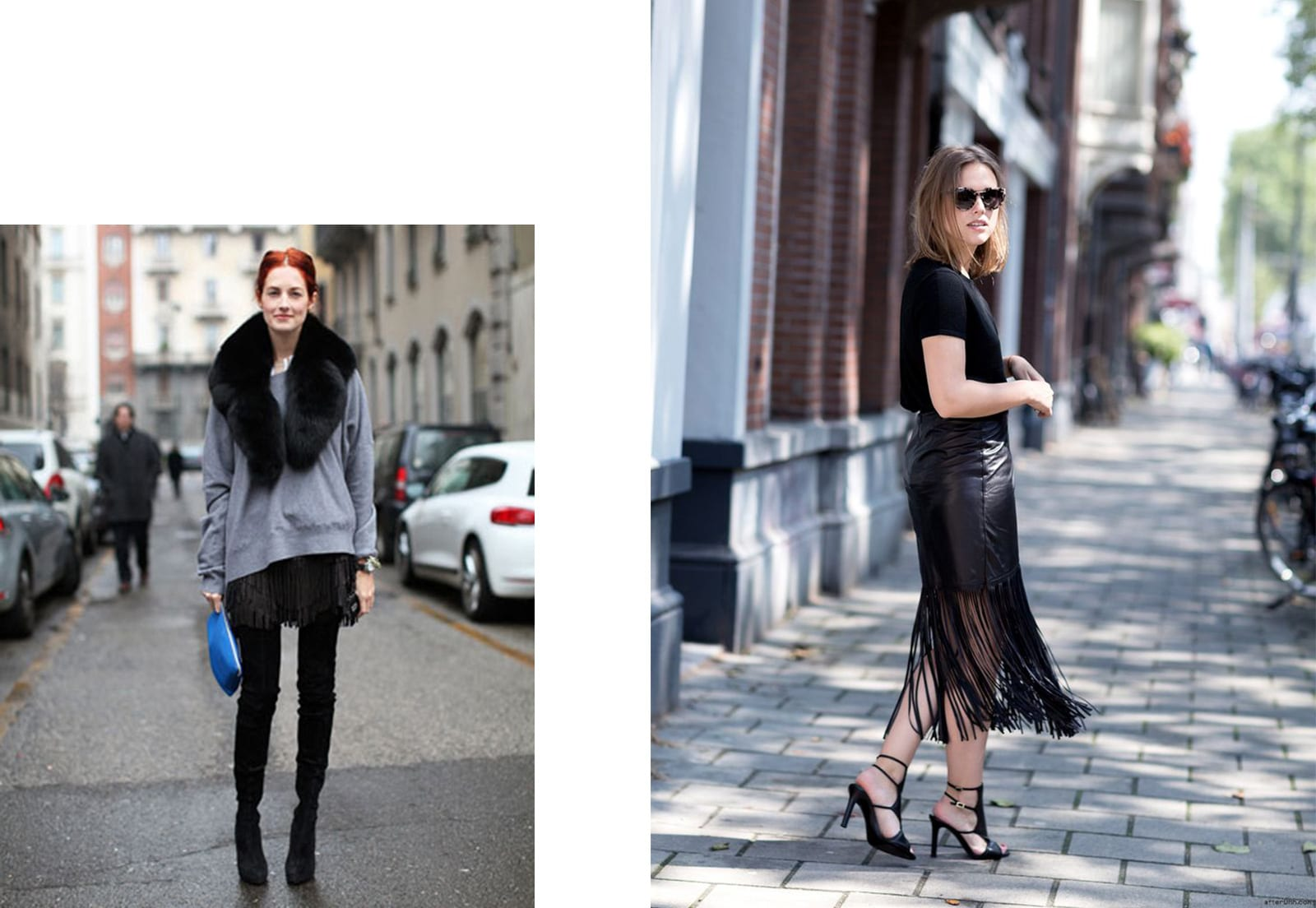 StyleANDMinimalism | Styling Inspiration | Leather Fringe Trend | Taylor Tomasi Hill | Sabrina Meijer wearing t-Shirt, skirt and shoes from Tamara Mellon