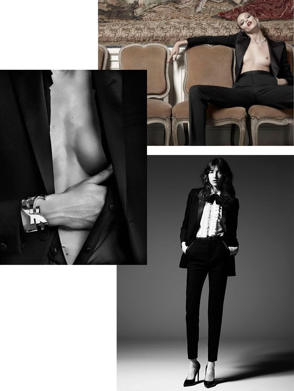 StyleANDMinimalism-Saint-Laurent-Le-Smoking-Tuxedo-Hedi-Slimane-Anja-Rubik-Grace-Hartzel