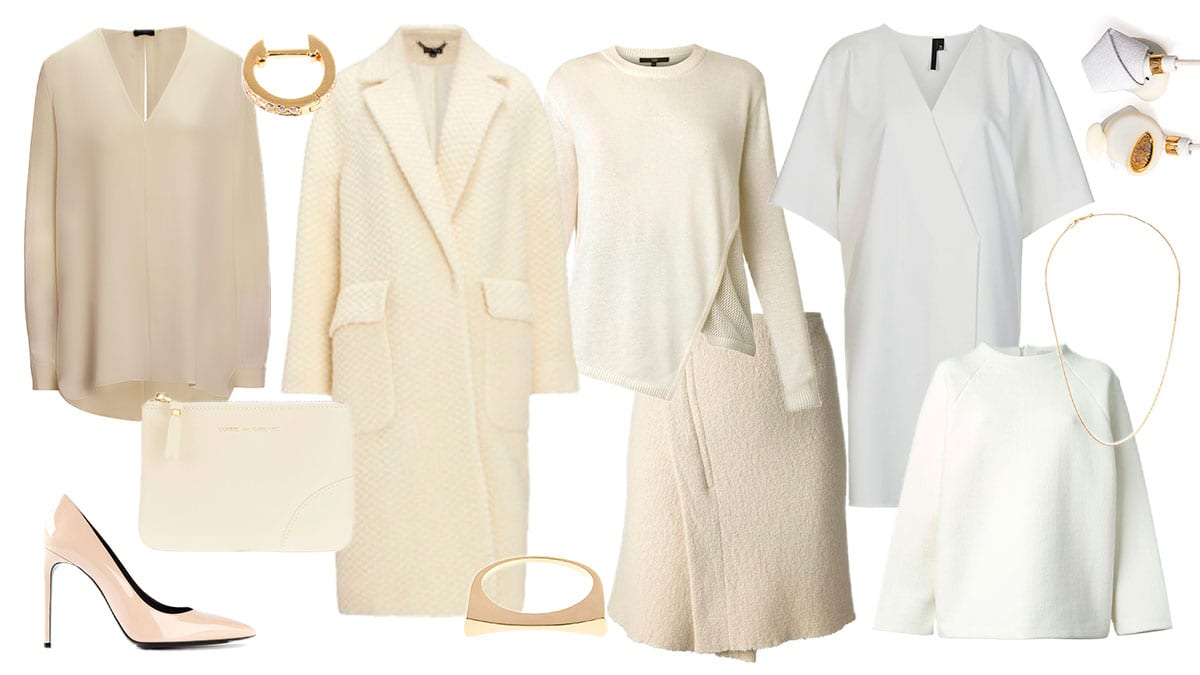 StyleAndMinimalism | New Neutrals | Best new neutral items for AW14 | 1. Tibi - Crossover Front, Knit Sweater || 2. Marc Alary - Cable Chain Necklace || 3. Whistles - Kawaii Bobble Wool Coat || 4. Isabel Marant - Kate Asymmetric Wrap Skirt || 5. Elise Dray - White Diamond & Gold Single Hoop Earring || 6. Saint Laurent - 'Paris' Pumps in Cream || 7. Joseph - Matt Silk Angela Blouse in Biscuit || 8. Molami - Bight Nappa-Leather In-Ear Headphones || 9. Topshop - Kimono Wrap Front Dress by Boutique || 10. Comme des Garçons - Wallet Small Document Holder || 11. Studio Nicholson - Oak Formal Sweater || 12. Tilda Biehn - Yellow-Gold Concave Ring
