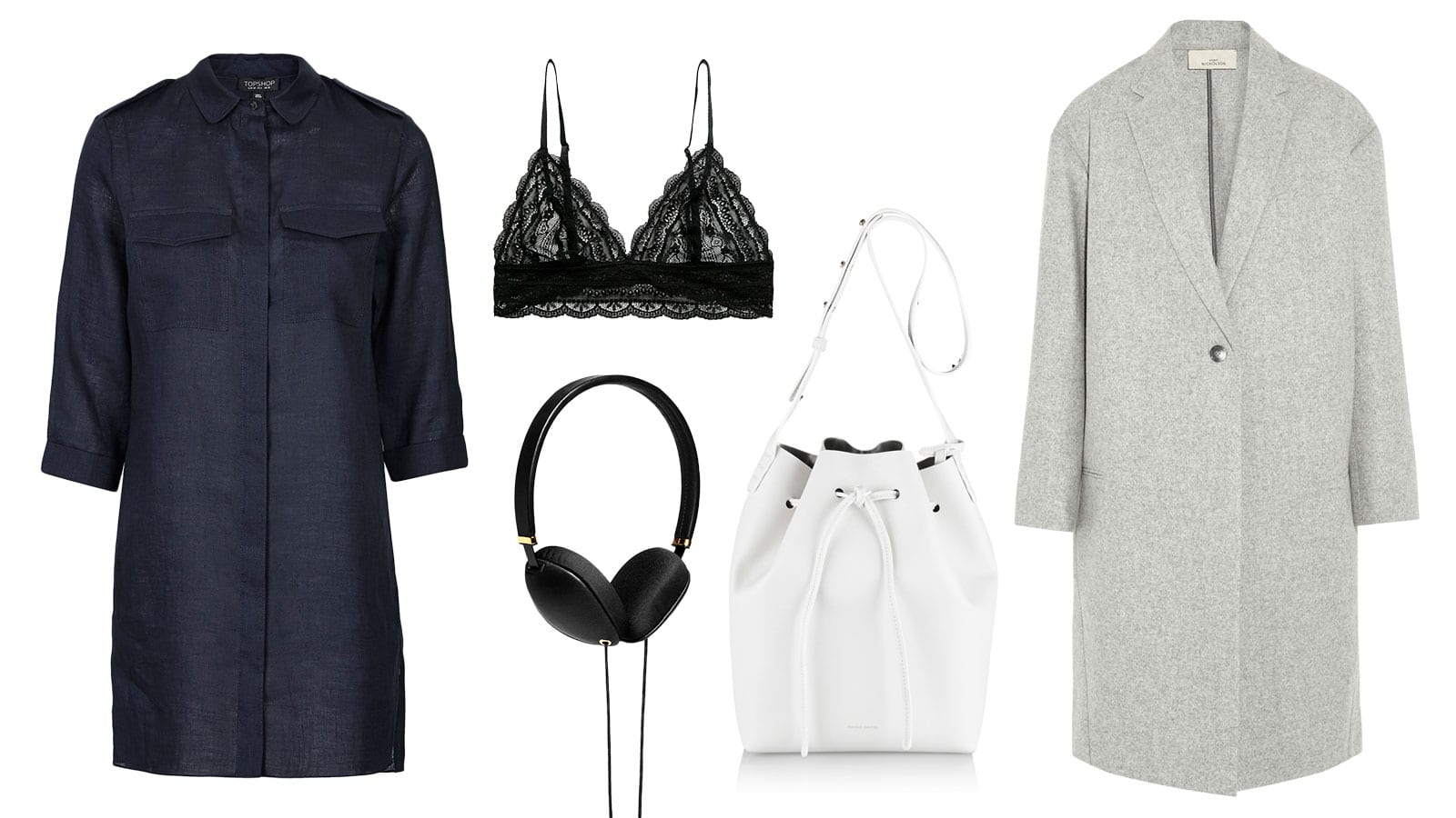 Shopping List | Indigo & Lace | 1. Mango - Lace Triangle Bra || 2. Topshop - Utility Linen Shirt Dress || 3. Studio Nicholson - Broadway Coat || 4. Mansur Gavriel - White Leather Bucket Bag || 5. Molami - Plica Black Headphones || 6. Topshop - France Silver Lace-Up Shoes