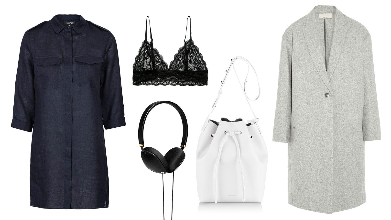Shopping List | Indigo & Lace | 1. Mango - Lace Triangle Bra || 2. Topshop - Utility Linen Shirt Dress || 3. Studio Nicholson - Broadway Coat || 4. Mansur Gavriel - White Leather Bucket Bag || 5. Molami - Plica Black Headphones || 6. Topshop - France Silver Lace-Up Shoes