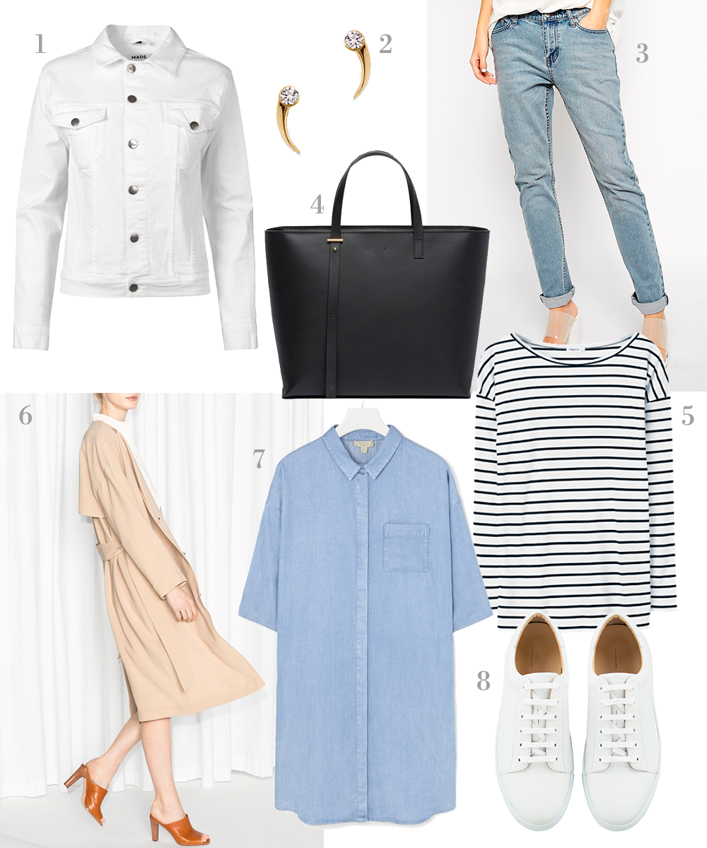 StyleAndMinimalism | Shopping List | Spring Essentials | 1. Mads Nørgaard - Jessie White Denim Jacket | 2. Mirlo - Claw Diamond Studs | 3. Cheap Monday - Thrift Boyfriend Jeans | 4. pb0110 - AB 15 Bag | 5. Filippa K - Jersey Stripe Top | 6. & Other Stories - Flowy Trench Coat in beige | 7. COS - Denim-Look Shirt Dress | 8. A.P.C. - Steffi Tennis Shoes