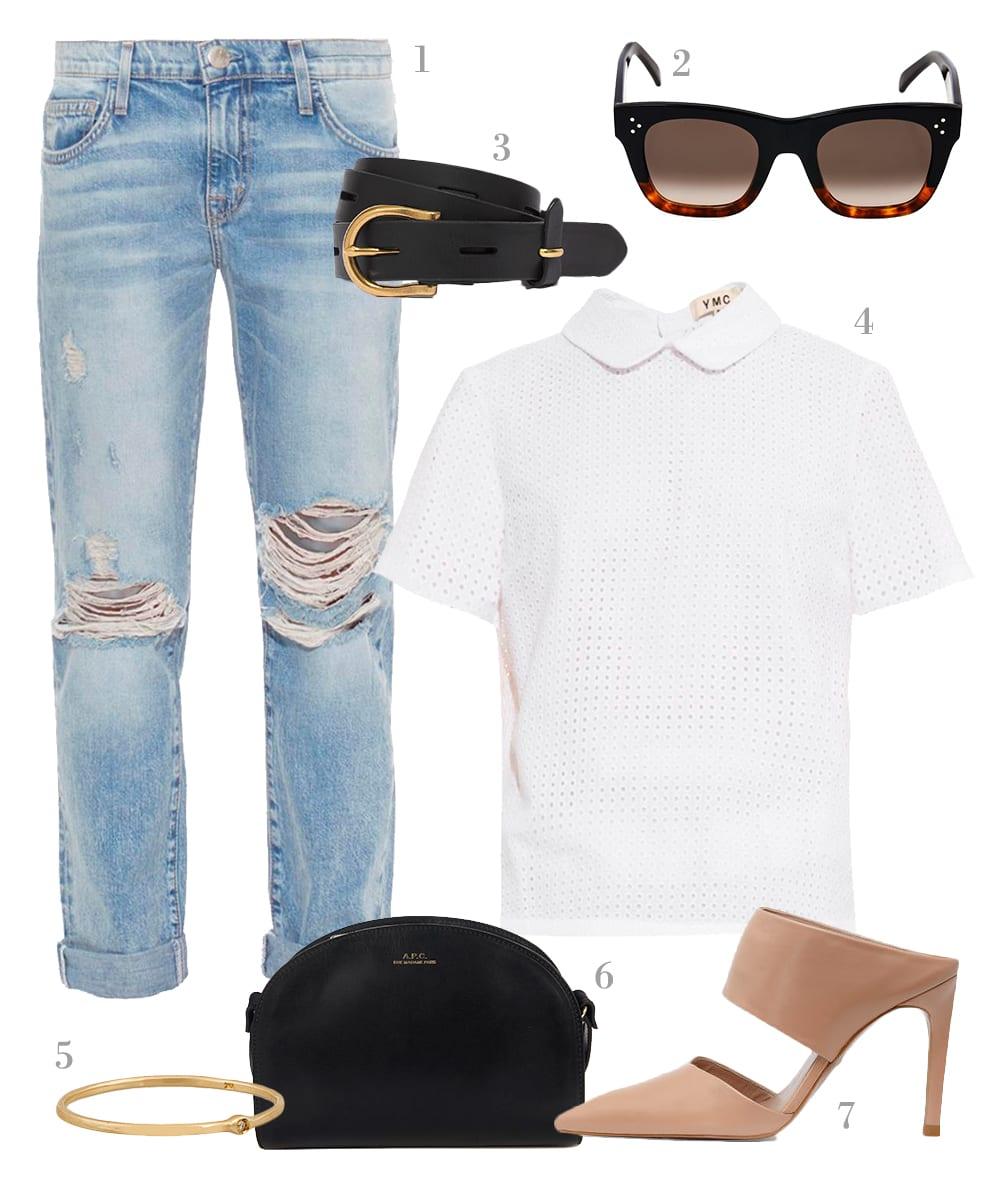 StyleAndMinimalism | Shopping List | Fresh Denim | 1. Current/Elliott - The Fling slim boyfriend jeans | 2. Céline - Sunglasses Square-framed sunglasses | 3. Madewell - Backcountry black belt | 4. YMC - Broderie-anglaise cotton top | 5. SCOSHA - Origin Memory 10-karat gold diamond ring | 6. A.P.C. - Half-moon leather cross-body bag | 7. Whistles - Tilla Point Mule