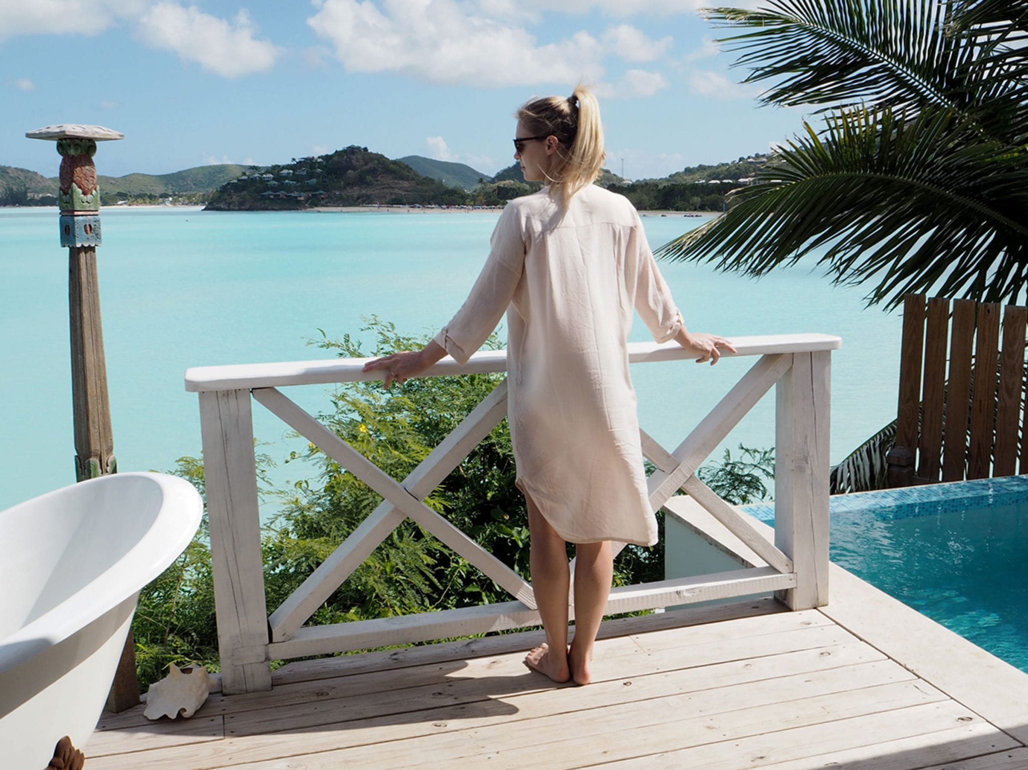 StyleAndMinimalism | Travel | Antigua | Wearing Pyrus shirt dress & Jil Sander sunglasses