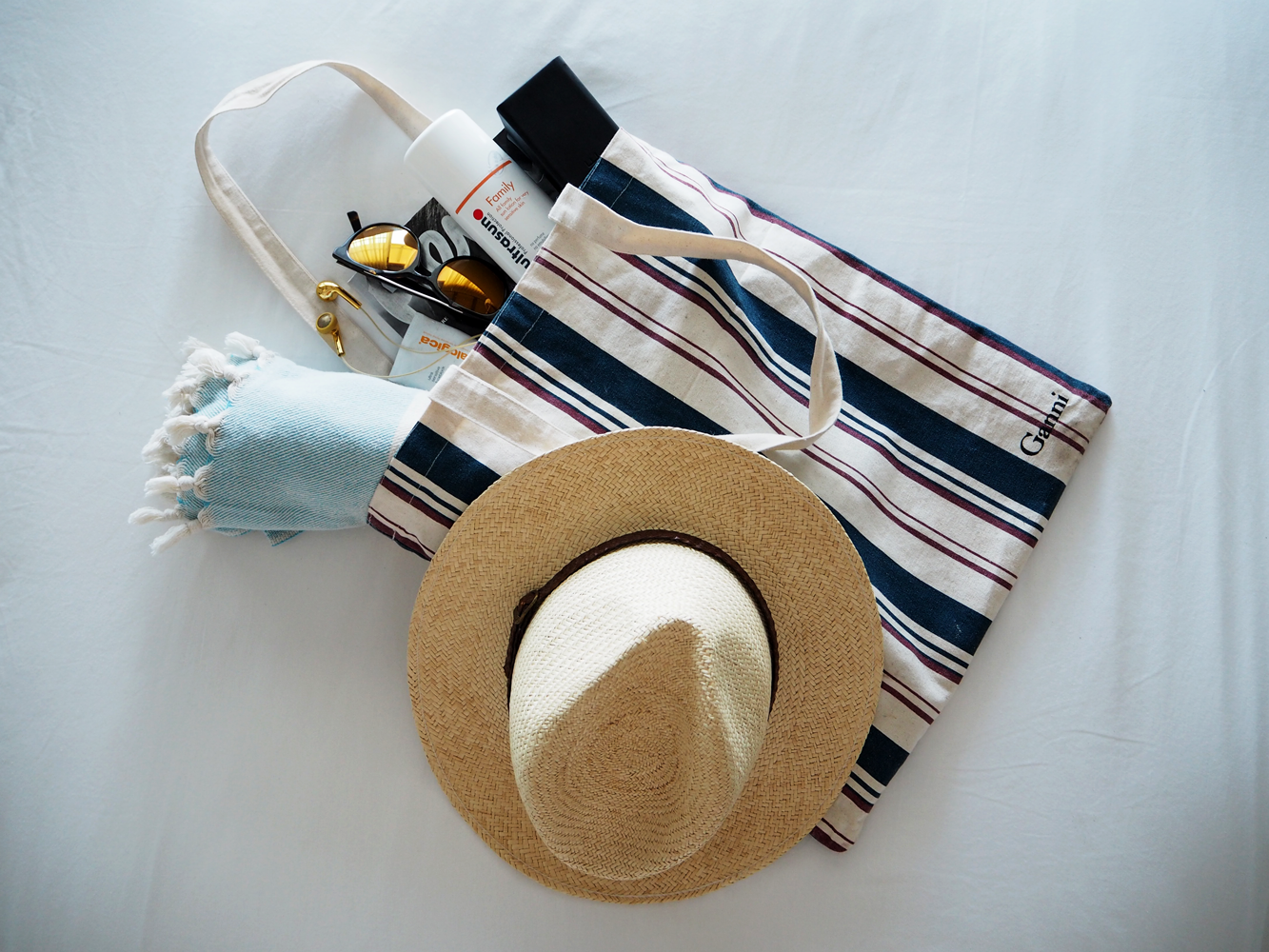 StyleAndMinimalism | Travel | Antigua | Ganni bag, panama, hammam towel, Kite sunglasses, Ultrasun sunscreen, Dermalogica face suncream, Happy Plugs earphones & Remix magazine