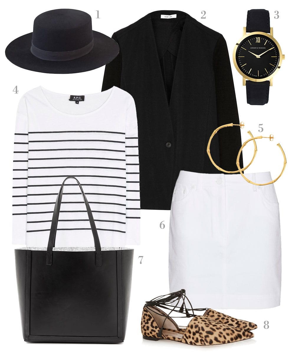 StyleANDMinimalism | Shopping List | Spots & Stripes | 1. Janessa Leone - Gabrielle Hat in Black | 2. Helmut Lang - Crepe and stretch-twill blazer | 3. Larsson and Jennings - Black Liten watch | 4. A.P.C. - Lagune striped cotton and linen sweater | 5. Dinny Hall - Gold Vermeil Large Bamboo hoop earrings | 6. Kenzo - White denim skirt | 7. Loeffler Randall - Open Tote | 8. Gianvito Rossi - Leopard-print calf hair point-toe flats