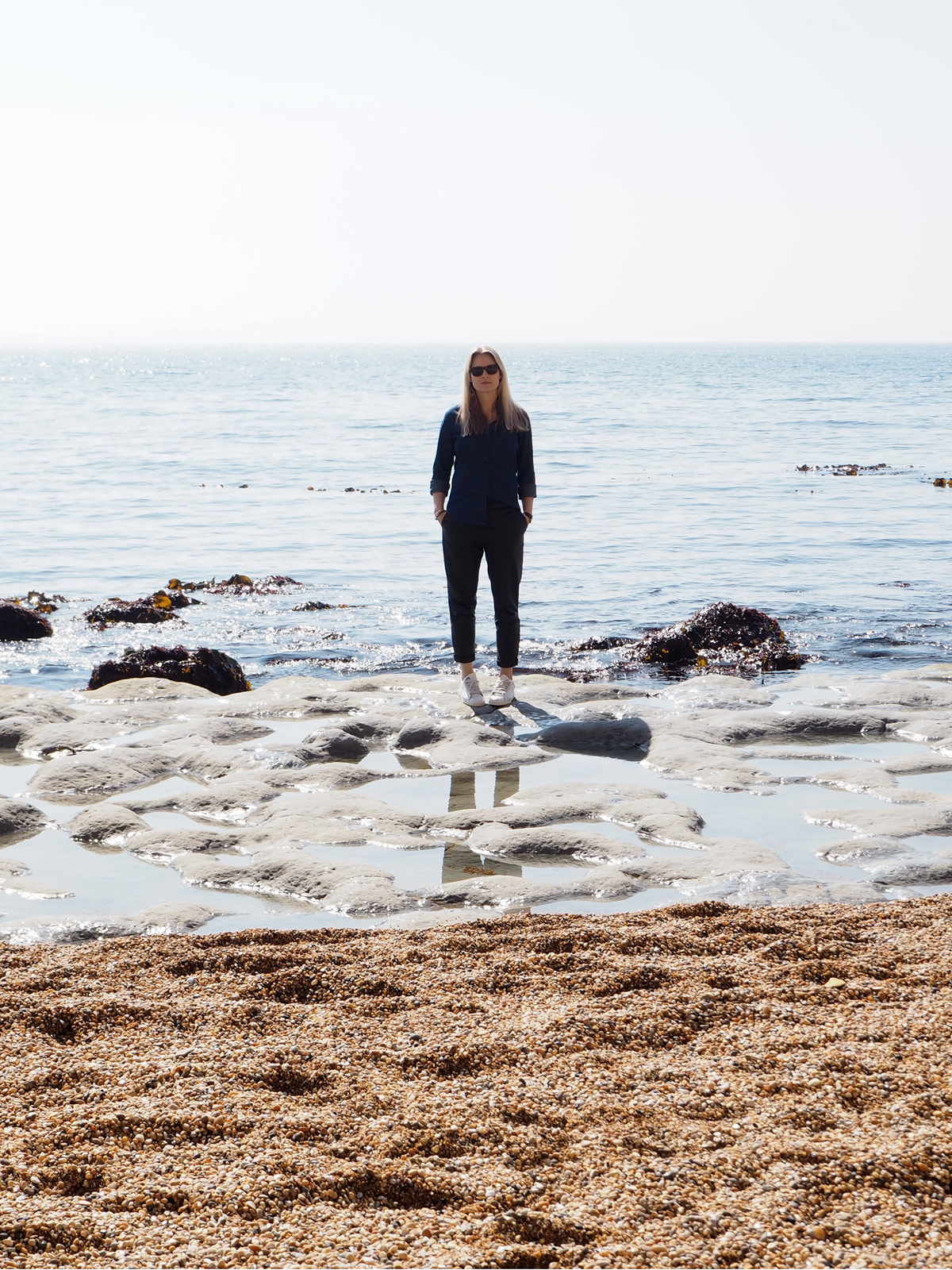 StyleAndMinimalism   Personal Style   A Day At The Beach   Wearing UNIQLO Denim shirt, H&M Leather trousers + Adidas Stan Smith trainers