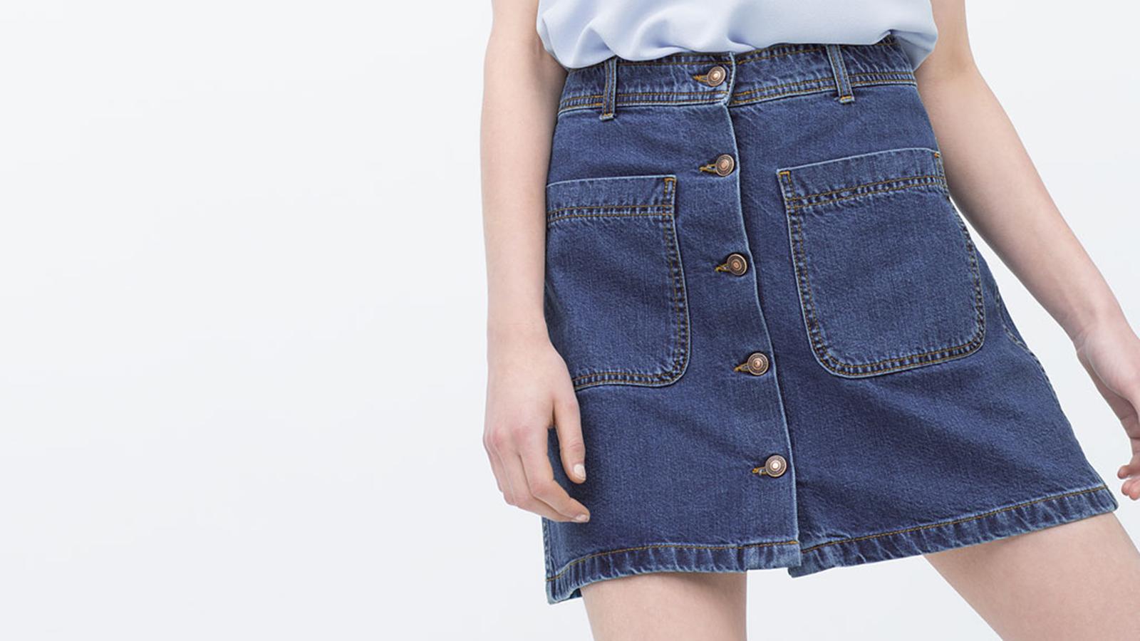 Denim Skirt With Pockets