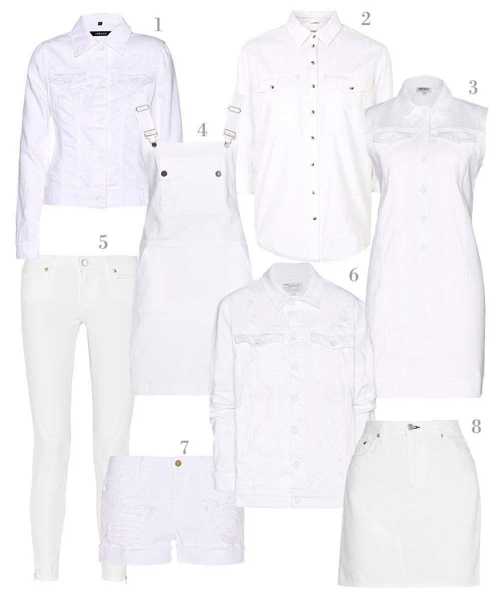 StyleAndMinimalism | Shopping List | New White Denim For Spring | 1. J Brand - Slim Denim Jacket | 2. Topshop - MOTO Off White Oversized Shirt | 3. Kenzo - Denim Mini Dress | 4. Frame - Le Apron Denim Dress | 5. Paige - White Verdugo Mid-Rise Skinny Jeans* | 6. Current/Elliott - Denim Jacket | 7. Frame Denim - Le Grand Garçon Distressed Denim Shorts | 8. rag & bone - Denim Mini Skirt
