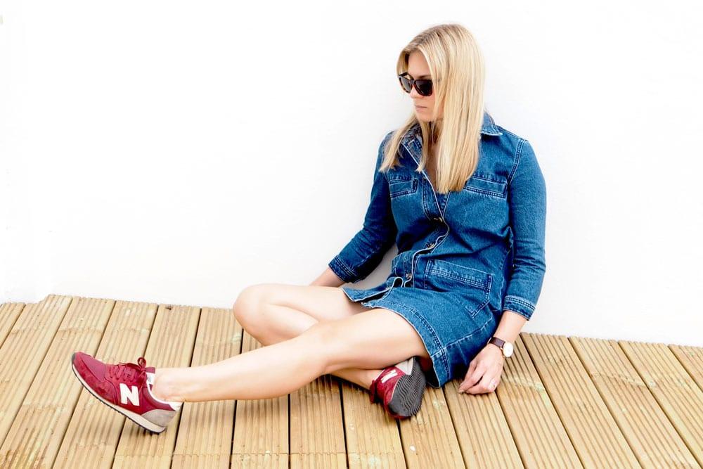 StyleAndMinimalism | It's Personal | Warehouse Denim Jacket Dress + New Balance 420