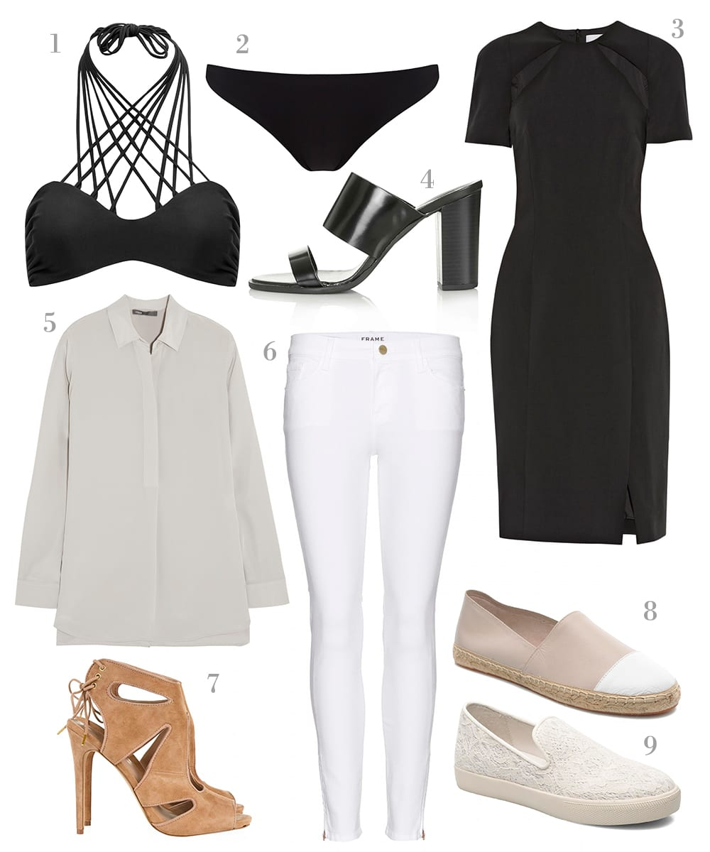 StyleAndMinimalism | Shopping List | A Minimalist Hen Do Packing Guide | 1. Mikoh - Night Kahala Bikini Top | 2. Mikoh - Black Miyako Bottoms | 3. Dion Lee - Cutout Crepe Dress | 4. Topshop - Raven Peeptoe Mules | 5. Vince - Washed-Silk Blouse | 6. Frame - Le Skinny De Jeanne Crop Jeans | 7. KG Kurt Geiger - Hattie Sandal in Tan Suede | 8. Rebecca Minkoff - Gavin Espadrille | 9. Ash - Illusion White Lace Slip On Trainer