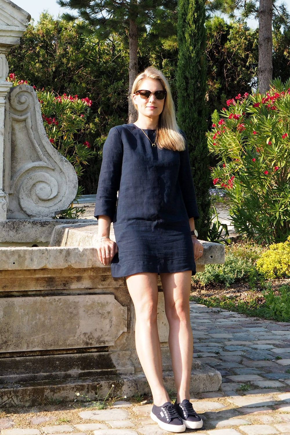 StyleAndMinimalism | Travel | Provence, France | Venue Hunting | Raquel Allegra Linen Dress, Superga 2750 Cotu in Navy, Osprey London The Safari Limited Edition Sunglasses, CFconcept Tusk Necklace