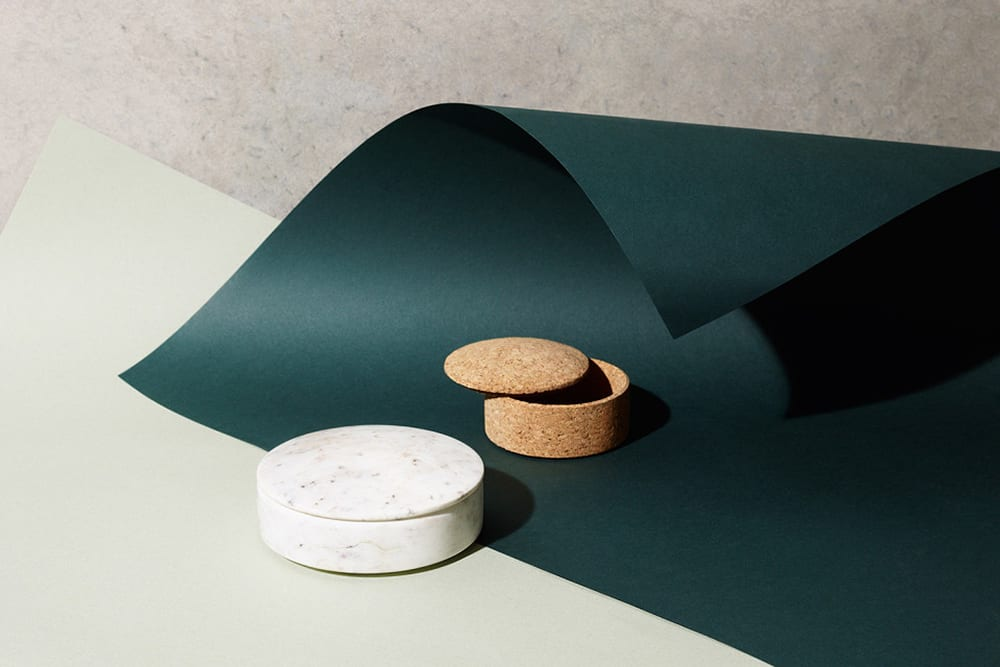 StyleAndMinimalism | Home Accessories | HAY Lens Boxes in Cork + Marble