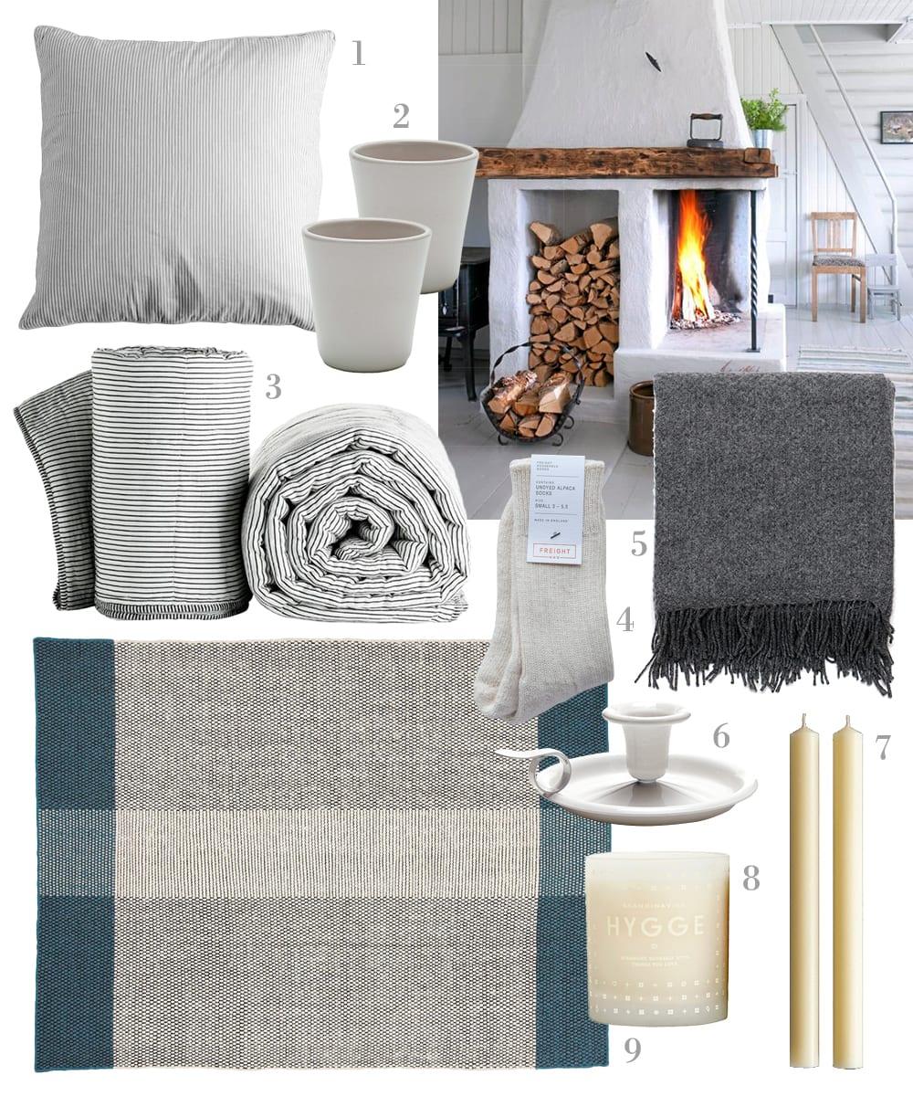 StyleAndMinimalism | Homeware | Hygge | 1. Tine K - Grey Stripe Cushion | 2. Workshop - Stoneware Beaker | 3. Tine K - Airy Striped Cotton Quilt in Grey | 4. Freight - Undyed Alpaca Socks in Cream | 5. The Future Kept - British Made 100% Wool Blanket in Slate | 6. Workshop - Enamel Candle Holder | 7. Labour & Wait - Two Dinner Candles | 8. Skandinavisk - Hygge Scented Candle | 9. Linie Designs - Pomezia Rug