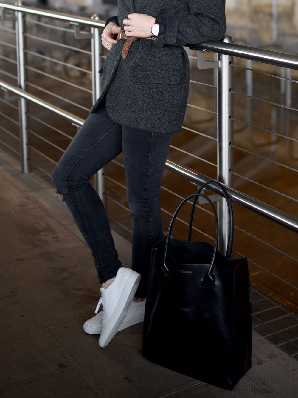 Style&Minimalism | It's Personal | Wearing Uncivilised shirt, Woman by Common Projects trainers, Isabel Marant x H&M blazer, Zara jeans & Dr Martens tote bag