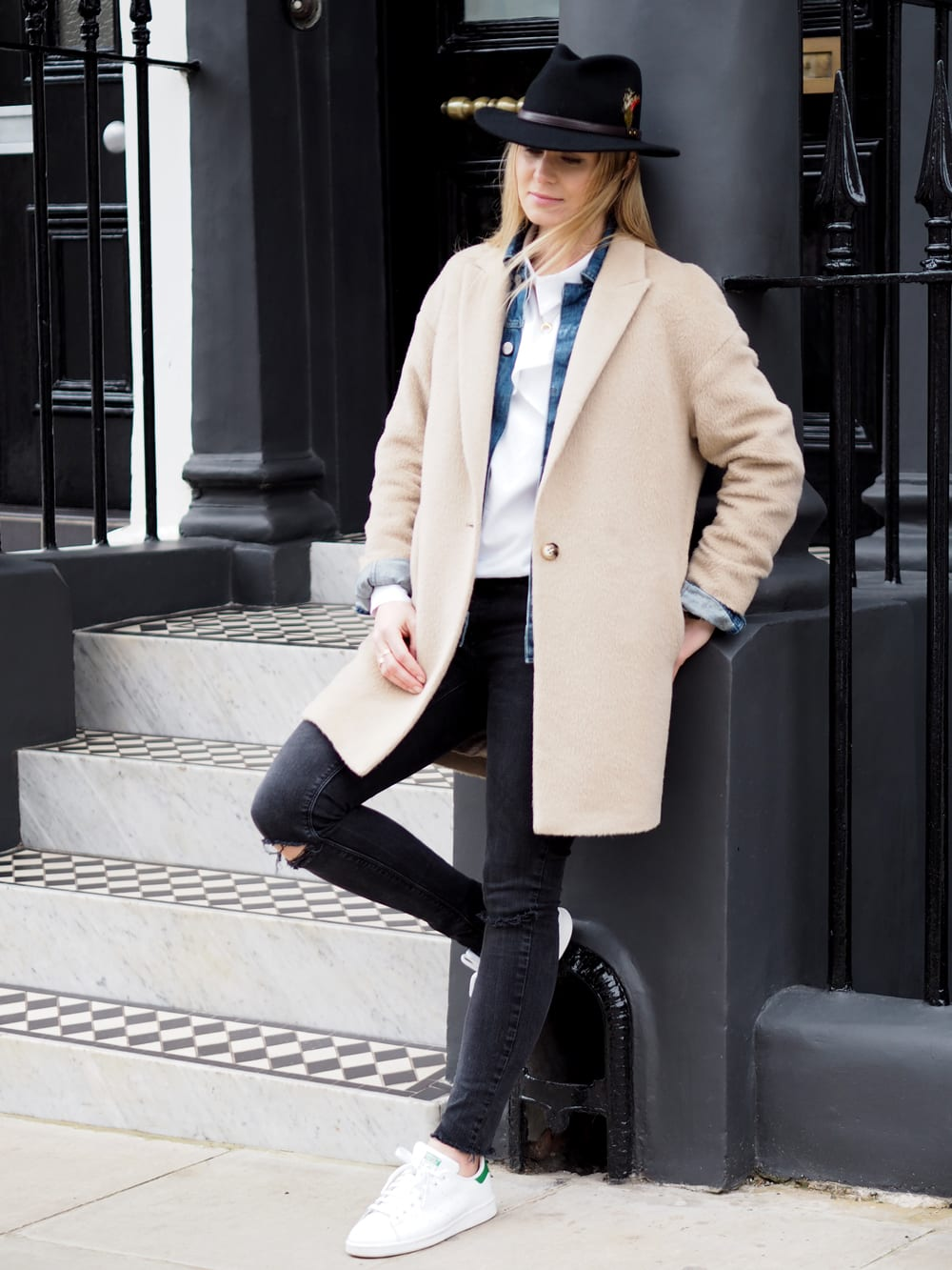 Style&Minimalism   It's Personal   Essential Spring Layers   Wearing Finders Keepers White Shirt, Wåven Denim Jacket, Camel Coat, Black Skinny Jeans, Black Fedora & Stan Smith Trainers