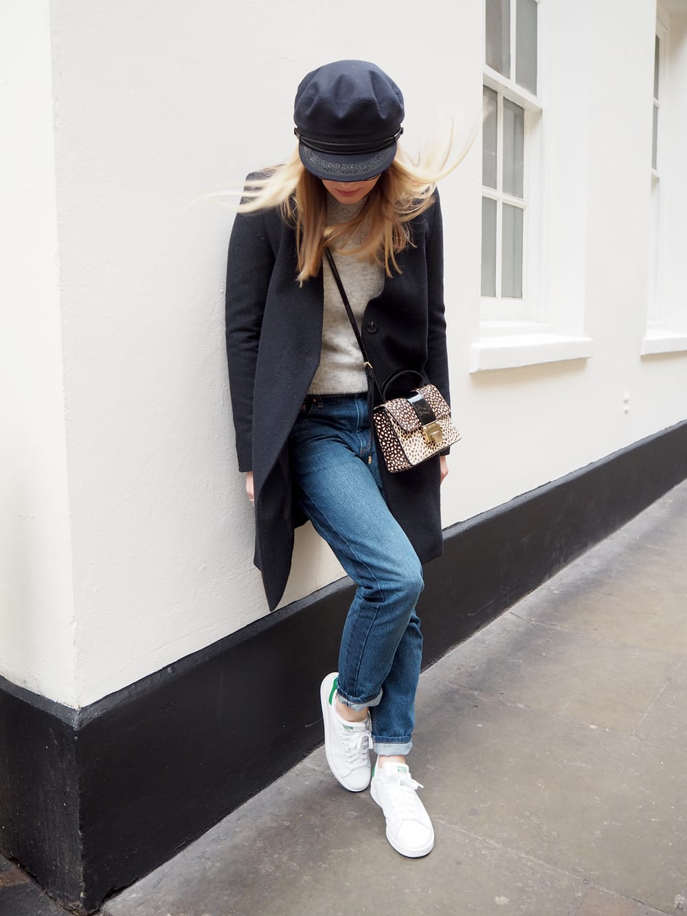 Style&Minimalism | It's Personal | Wearing Samsøe Coat, Isabel Marant Étoile Jeans, Jimmy Choo Rebel Bag, Saint James Mariner Cap