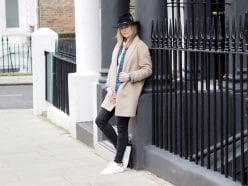 Style&Minimalism | It's Personal | Wearing Finders Keepers White Shirt, Wåven Denim Jacket, Camel Coat, Black Skinny Jeans, Black Fedora & Stan Smith Trainers