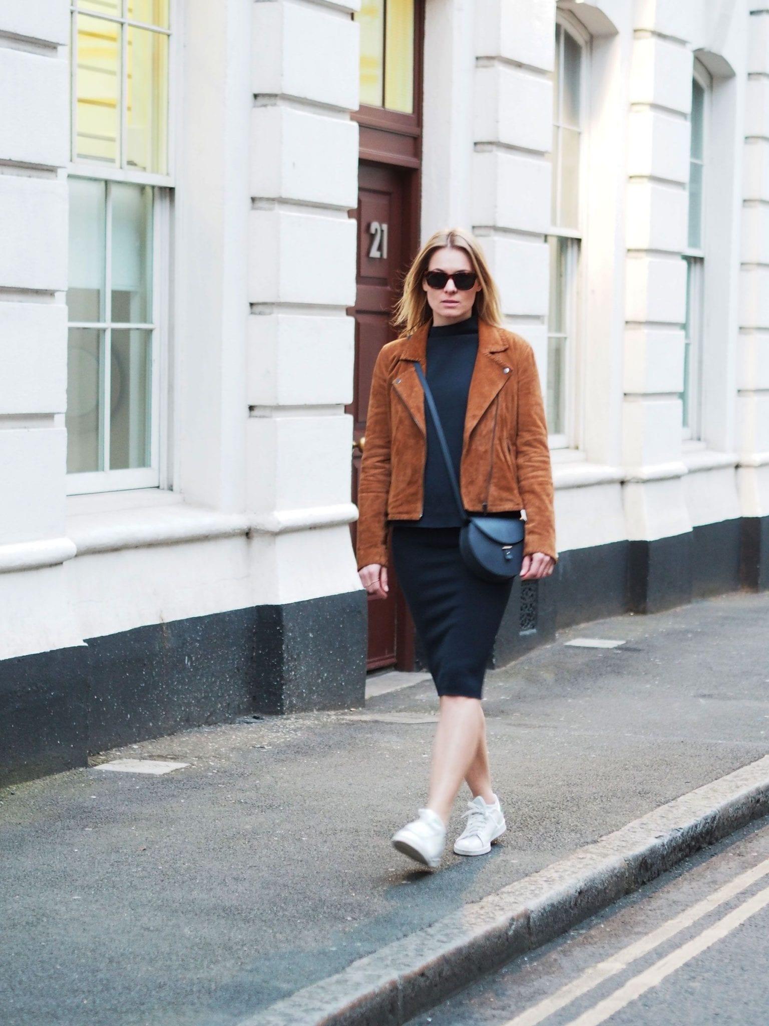 Style&Minimalism | It's Personal | Samsøe & Samsøe Top & Skirt Navy Coord, Second Female Tan Suede Jacket, Triwa Sunglasses