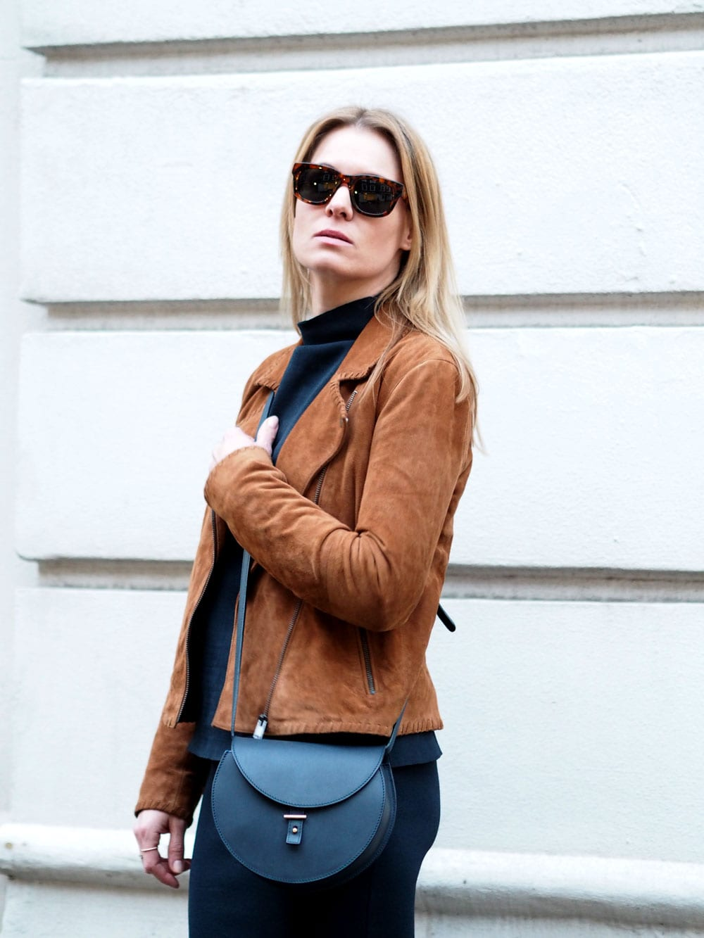 Style&Minimalism | It's Personal | Samsøe & Samsøe Top & Skirt Navy Co-ord, Second Female Tan Suede Jacket, Triwa Sunglasses
