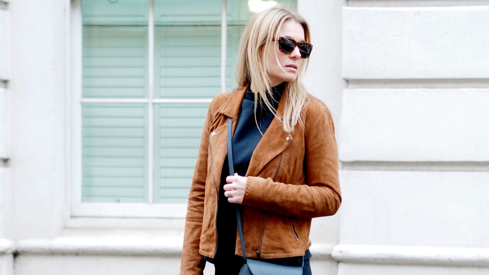 Style&Minimalism | It's Personal | Samsøe & Samsøe Top & Skirt Navy Co-ord, Second Female Tan Suede Jacket, Triwa Sunglasses