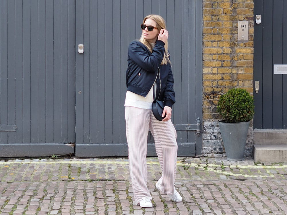 Style&Minimalism | It's Personal | Daytime Pyjamas Anyone? | Wearing Samsøe & Samsøe stripe trousers and cream high-neck jumper with a Topshop bomber