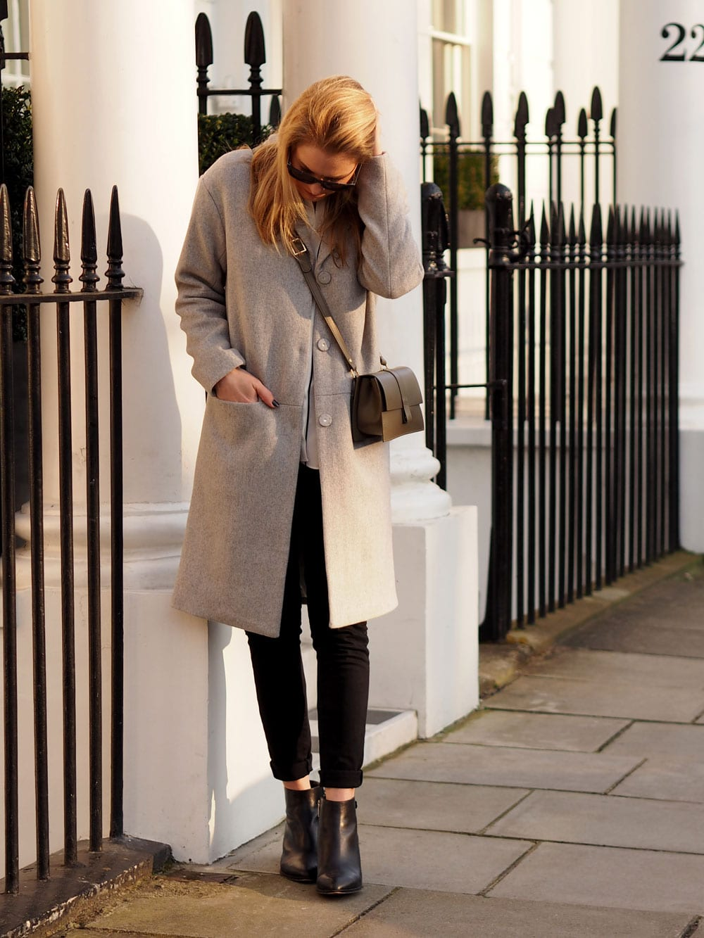 Style&Minimalism | It's Personal | Less Layers, More Light | Second Female Grey Coat, ME+EM Silk Shirt, Paige Skinny Black Jeans, Danielle Foster Charlie Bag, Michael by Michael Kors Black Ankle Boots