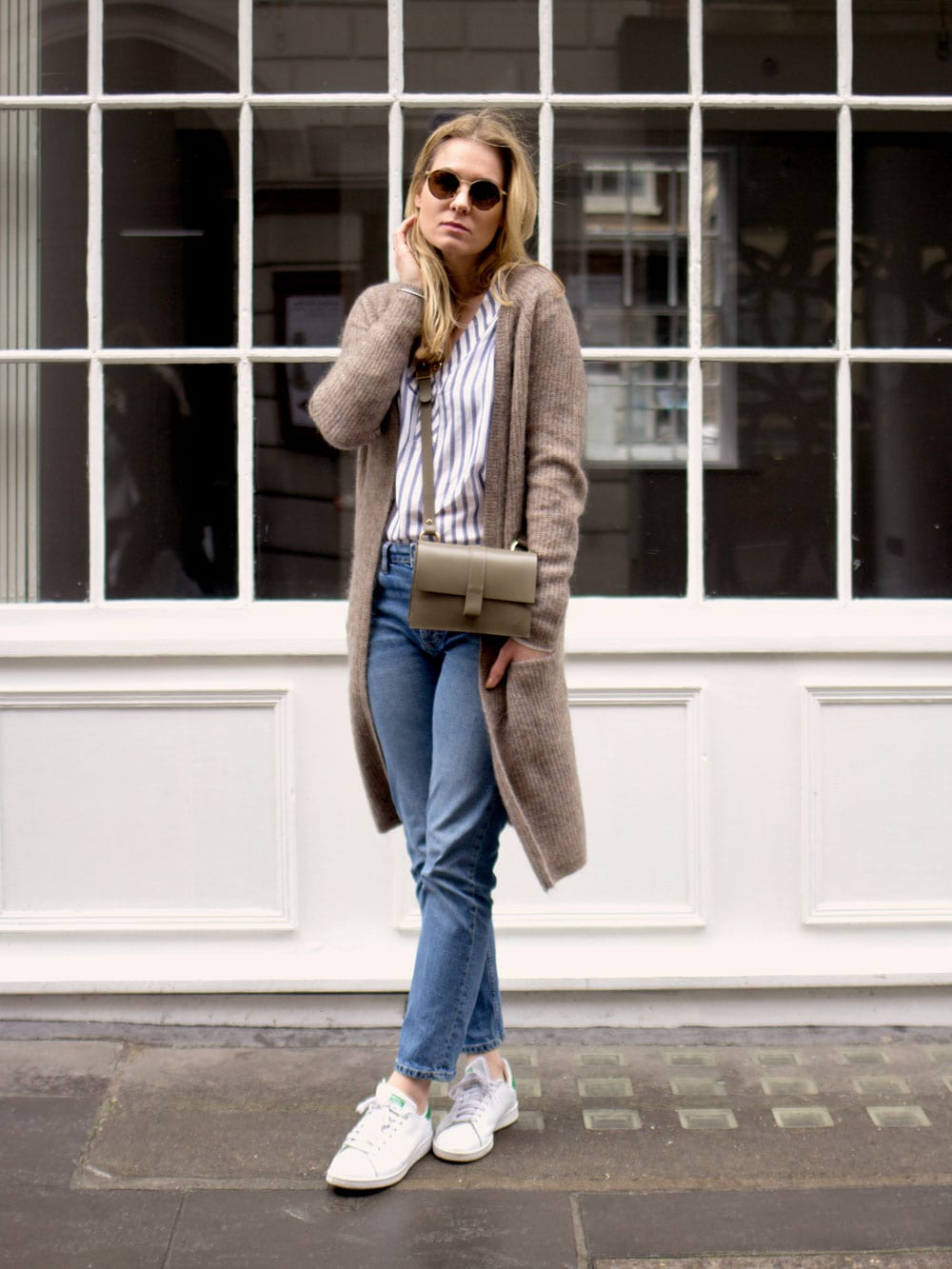Style&Minimalism | It's Personal | Olaplex at Blue Tit | Second Female Stripe Blouse, Second Female Brown Cardigan, Topshop straight Jeans, Danielle Foster Charlie Bag and Ace & Tate Sunglasses