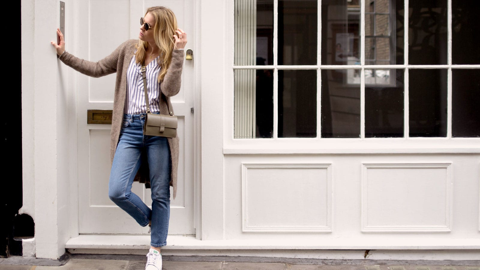 Style&Minimalism | It's Personal | Second Female Stripe Blouse, Second Female Brown Cardigan, Topshop straight Jeans, Danielle Foster Charlie Bag and Ace & Tate Sunglasses