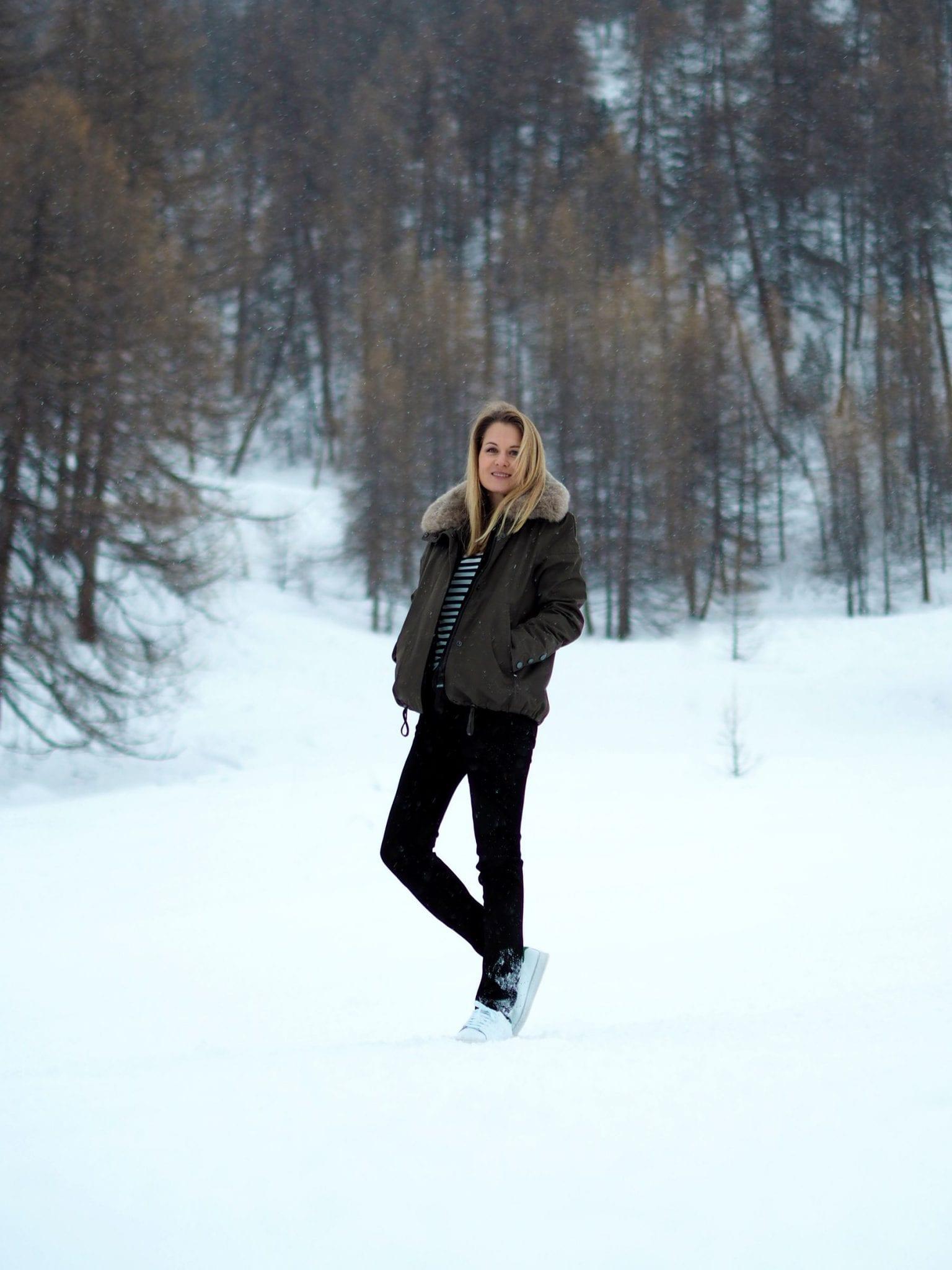 Style&Minimalism | It's Personal | Val D'Isère Aprés Ski Style | G-Lab Coat, NYDJ Jeans, ME+EM Stripe Tee