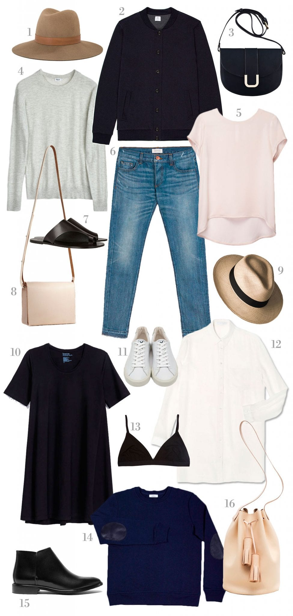 Style&Minimalism | Shopping List | Slow Fashion | 1. Janessa Leoné Clay Fedora in Light Brown | 2. Sunspel Vintage Wool Bomber Jacket | 3. A.P.C. Sac Soho Shoulder Bag in Black | 4. Filippa K Light Silk Pullover in Grey | 5. Cuyana Silk Tee in Blush | 6. Crippen Lover Jean in Light Vintage | 7. ATP Atelier Rosa Sandals in Black | 8. SGB Goods Natural Petite Messenger Bag | 9. Prymal Waterdrop Beige Toquilla Hat | 10. Kowtow Building Block Swing Dress in Black | 11. Veja Esplar Low Leather Trainers in White | 12. Marina London Blake Shirt in White | 13. Baserange Mississipi Bra in Black | 14. Maison Standards Le Sweatshirt Uni in Navy | 15. Everlane The Modern Ankle Boot in Black | 16. Building Block Bucket Bag in Nude