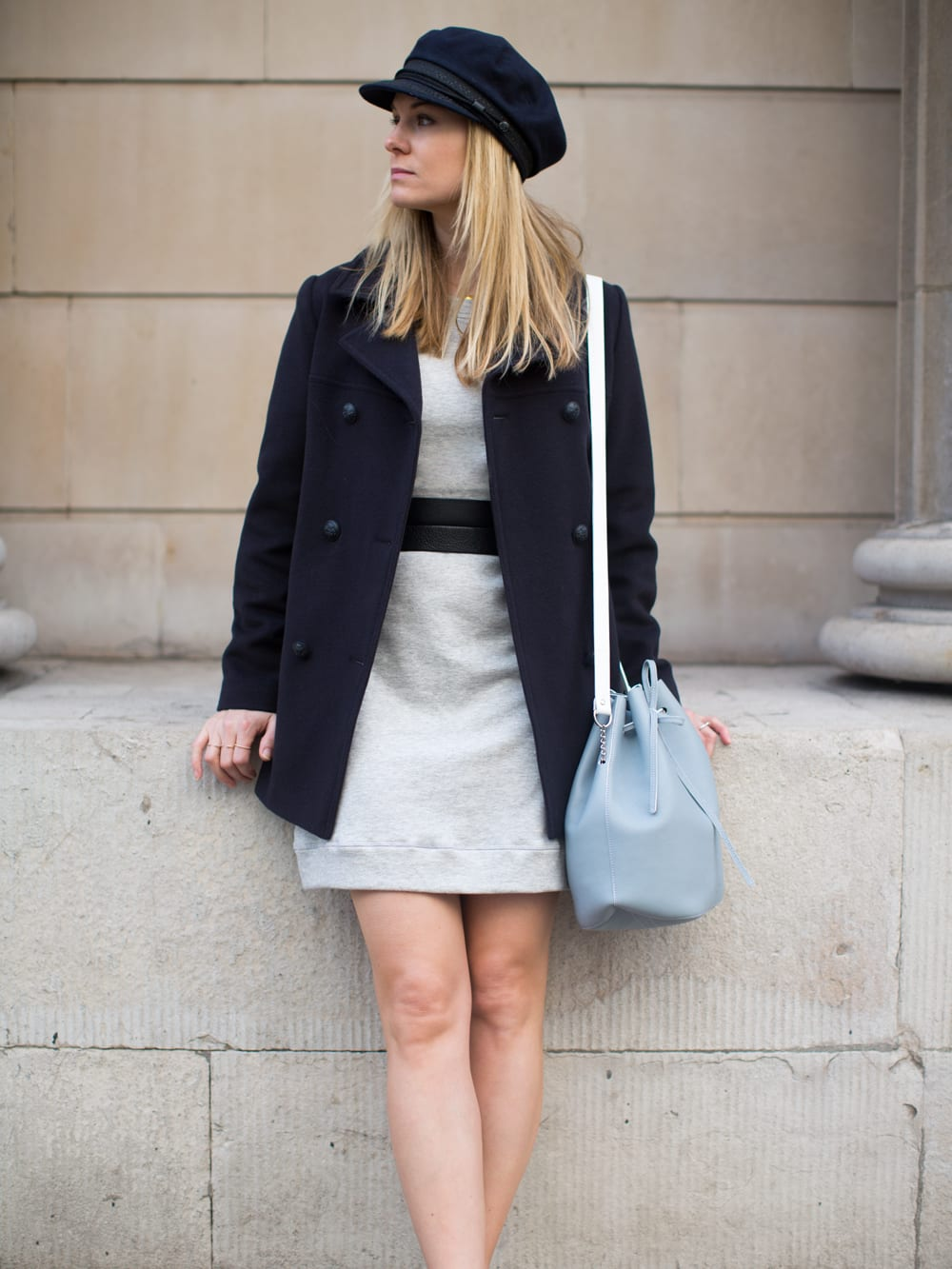 Style&Minimalism   It's Personal   Armor Lux Pea Coat, Bon Label Sweater Dress, Common Projects & Baia Bucket Bag
